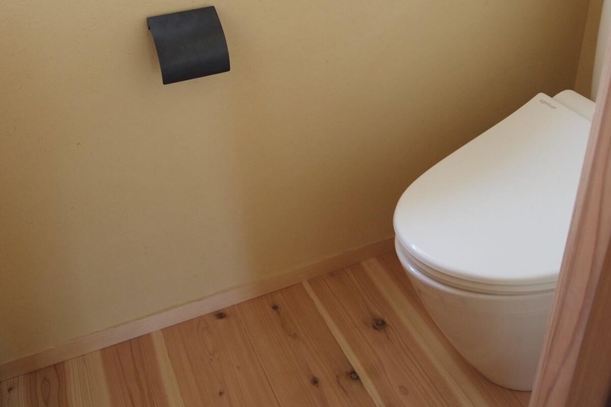 鉄のペーパーホルダーのあるトイレ