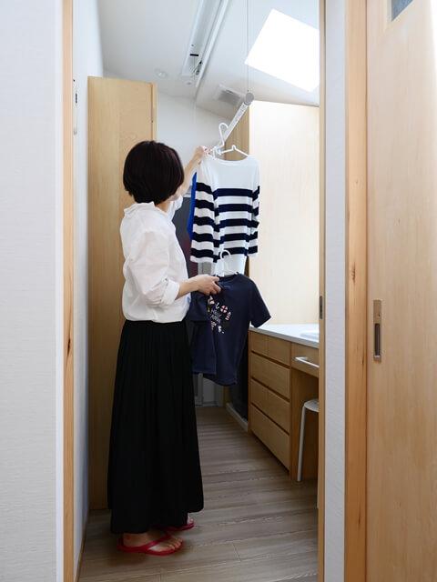 洗濯物を干しやすい洗面所