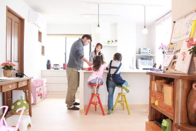 家族一緒に料理できるキッチン